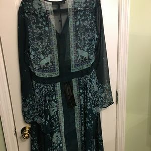 BCBG green floral assymetical dress